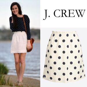 J. Crew Navy Polka Dot Sidewalk Skirt